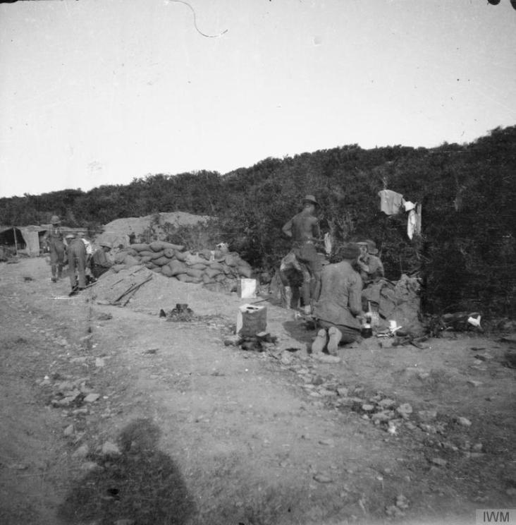 Brigade Gully, foothills of Kiretch Tepe Sirt, looking towards Suvla Bay. 15th August, 1915, Lt. Col. Byrne © IWM (Q 57860)
