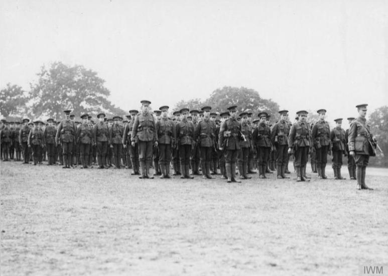 311 London Regiment, Finsbury Rifles, on parade. October 1915