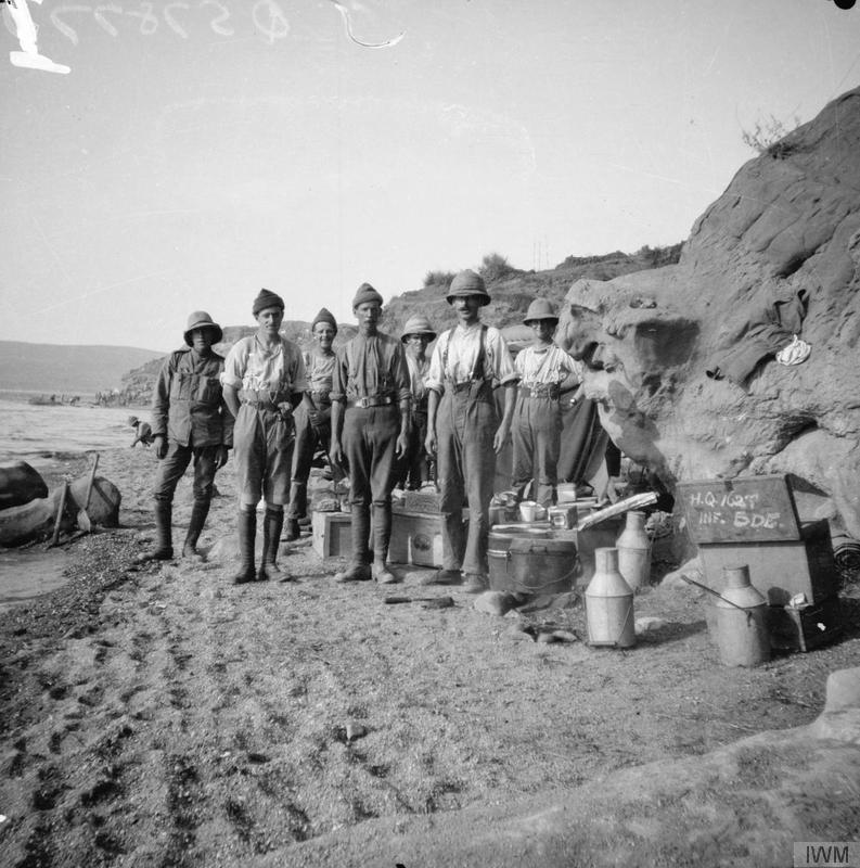 Cooks, batmen and signallers of the 162nd Brigade, Lala Baba, Suvla Bay, August 1915. © IWM (Q 57877)