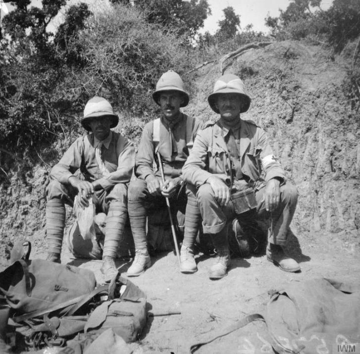 Left to right: Captain Hammond, 1/11th London Regiment; Major H. F. Byrne, D. A. D. O. S. , 13th Division; Major Malcolm, M. O. 1/11th London Regiment, in the Aghyl Dere, Anzac, August 1915. Major Malcolm died of dysentry in Malta, October 1915. © IWM (Q 57864)