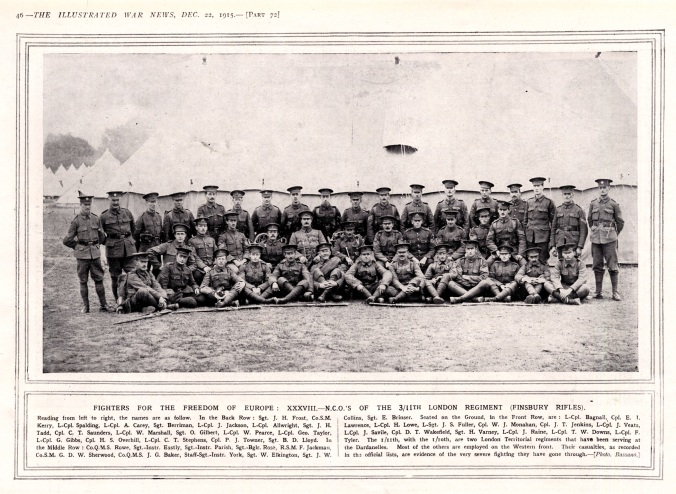 WW1 Finsbury Rifles NCOs (1915)