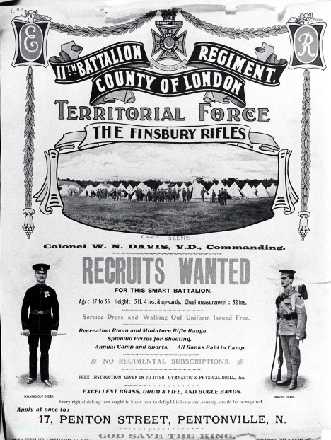 Finsbury Rifles Recruitment poster