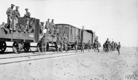 Q57740 open rail trucks halted on journey from Suez to Kantara Jan 17