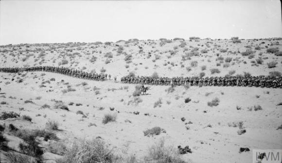 Q57764 Advance across the Desert along the wire road though scrub desert