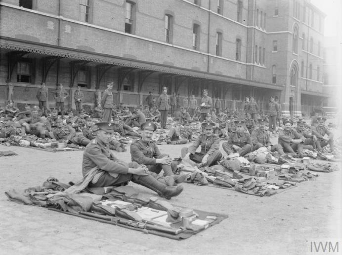 Q67047 Grendier Guards with kit laid out for inspection 5th battalion at Wellington Barracks