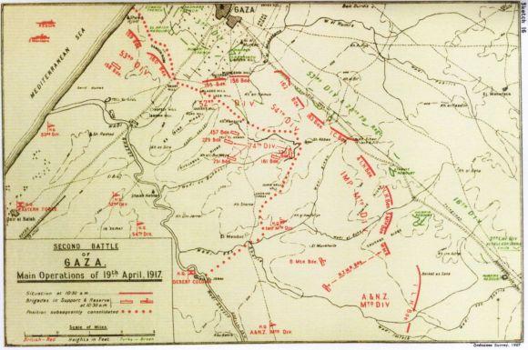 second battle of Gaza map 10.30am