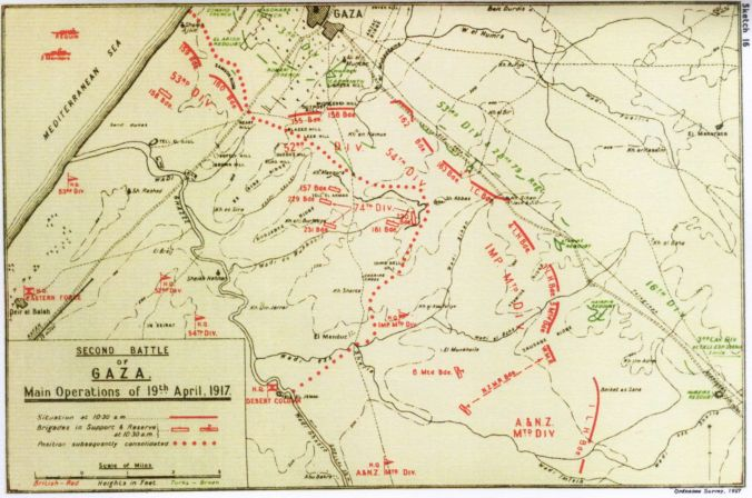 second battle of Gaza map 10.30am