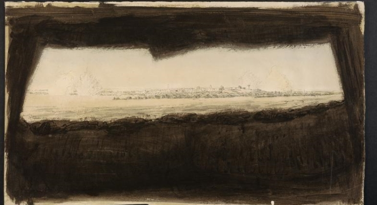 shells exploding over Gaza McBey IWM 2940
