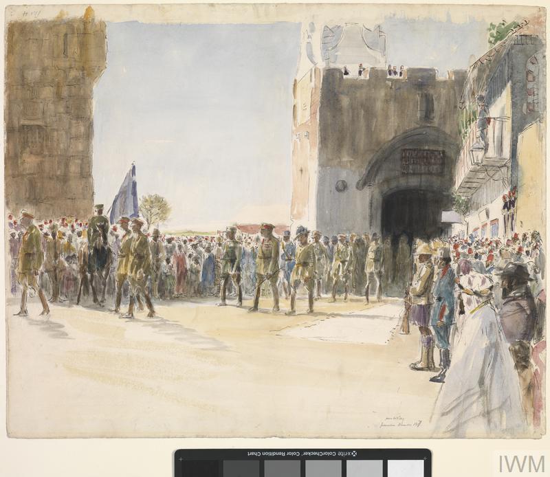 Allenby entering J'lem 1918 Mc Bey