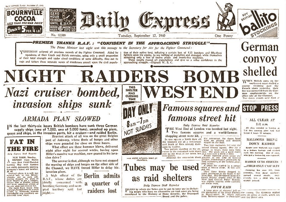 Daily Express 17 Sept. 1940