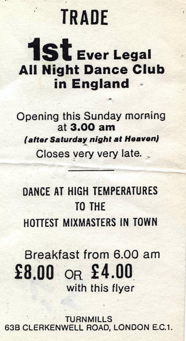 01. The first flyer for Trade nightclub, EC1, 29 October 1990