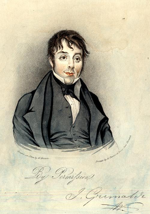 Grimaldi portrait lithograph (1800s)