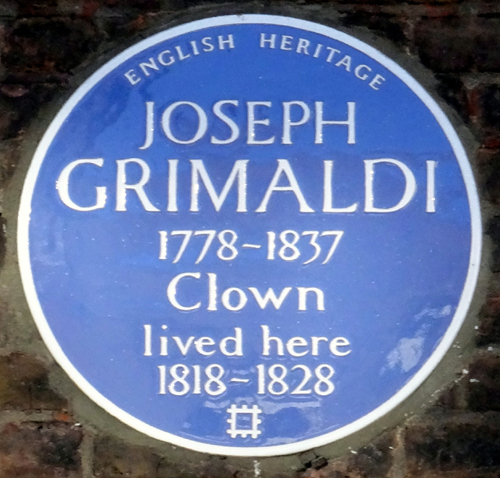 Plaque at Grimaldi's House 56 Exmouth Street April 2018